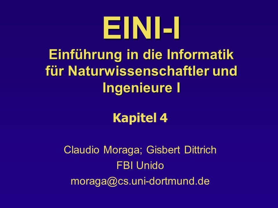 Kap 4: Vereinbarungen + Gültigkeit Vorl EINI-I 22 Vereinbarungen von Namen Man unterscheidet in C++ für Namen die Deklaration von der Definition: –Deklaration: informiert den Compiler über den Typ einer Variablen –Definitionen: informiert den Compiler über Speicherplätze, Werte etc