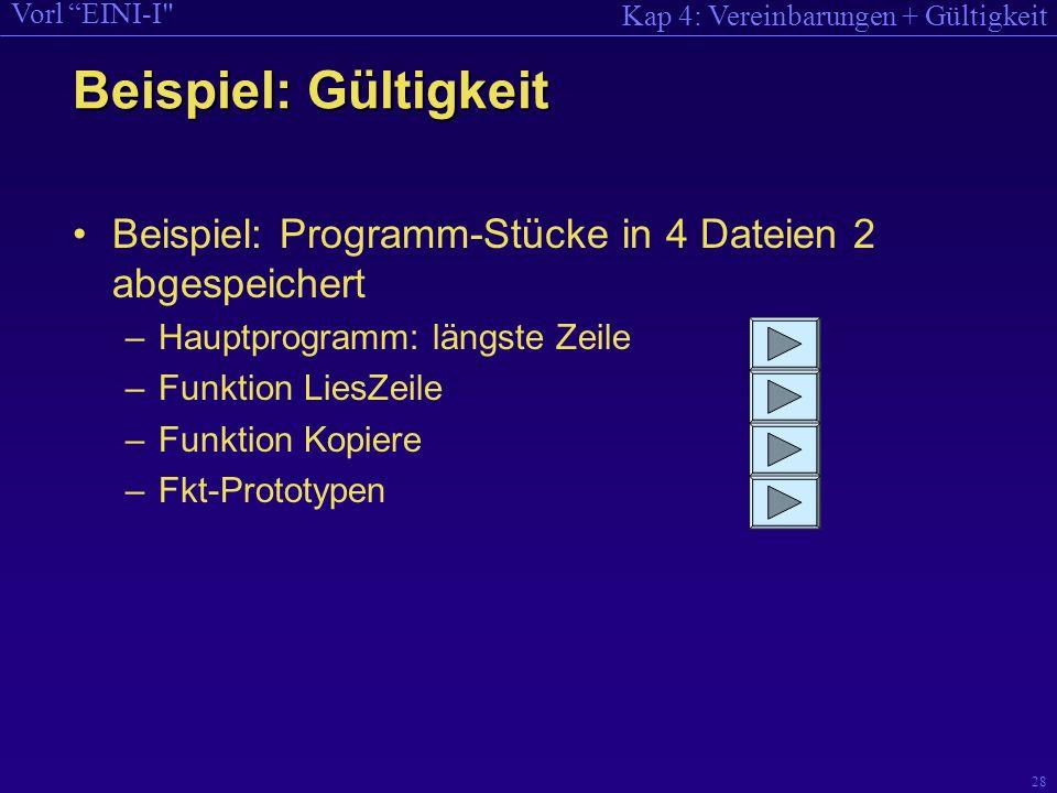 Kap 4: Vereinbarungen + Gültigkeit Vorl EINI-I 28 Beispiel: Programm-Stücke in 4 Dateien 2 abgespeichert –Hauptprogramm: längste Zeile –Funktion LiesZeile –Funktion Kopiere –Fkt-Prototypen Beispiel: Gültigkeit
