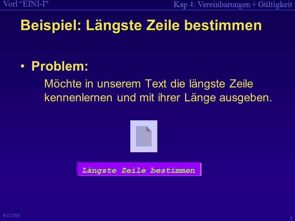 Kap 4: Vereinbarungen + Gültigkeit Vorl EINI-I 3 9.11.2000 Beispiel: Längste Zeile bestimmen Problem: Möchte in unserem Text die längste Zeile kennenlernen und mit ihrer Länge ausgeben.
