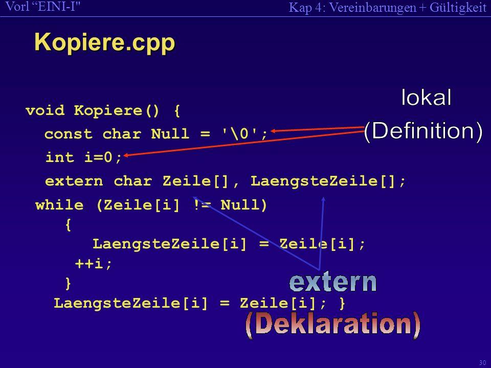 Kap 4: Vereinbarungen + Gültigkeit Vorl EINI-I 30 void Kopiere() { const char Null = \0 ; int i=0; extern char Zeile[], LaengsteZeile[]; while (Zeile[i] != Null) { LaengsteZeile[i] = Zeile[i]; ++i; } LaengsteZeile[i] = Zeile[i]; } Kopiere.cpp