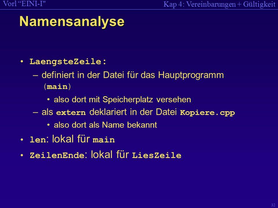 Kap 4: Vereinbarungen + Gültigkeit Vorl EINI-I 32 Namensanalyse LaengsteZeile : –definiert in der Datei für das Hauptprogramm ( main ) also dort mit Speicherplatz versehen –als extern deklariert in der Datei Kopiere.cpp also dort als Name bekannt len : lokal für main ZeilenEnde : lokal für LiesZeile