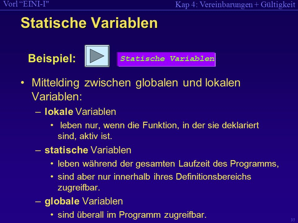 Kap 4: Vereinbarungen + Gültigkeit Vorl EINI-I 35 Statische Variablen Mittelding zwischen globalen und lokalen Variablen: –lokale Variablen leben nur, wenn die Funktion, in der sie deklariert sind, aktiv ist.