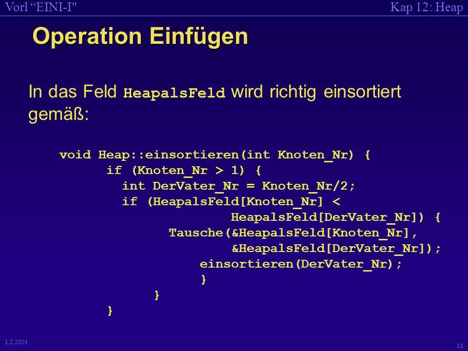 Kap 12: HeapVorl EINI-I 12 1.2.2001 Operation Einfügen An richtige Stelle einsortieren - Idee: einsortieren(k) : ist k=1, so ist nichts zu tun, ist k>1, so geschieht folgendes: falls a[k/2] > a[k], vertausche a[k/2] mit a[k], rufe einsortieren(k/2) auf.