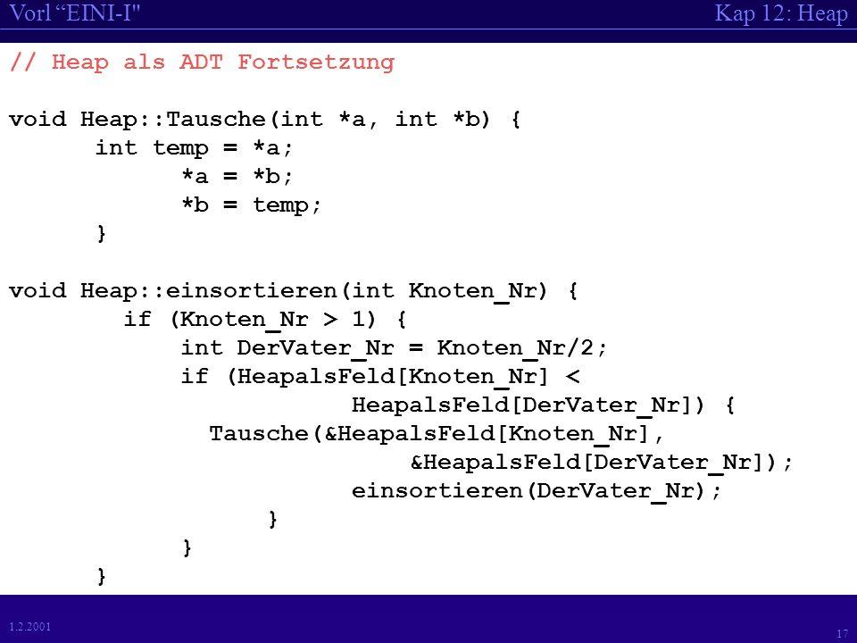 Kap 12: HeapVorl EINI-I 17 1.2.2001 // Heap als ADT Fortsetzung void Heap::Tausche(int *a, int *b) { int temp = *a; *a = *b; *b = temp; } void Heap::einsortieren(int Knoten_Nr) { if (Knoten_Nr > 1) { int DerVater_Nr = Knoten_Nr/2; if (HeapalsFeld[Knoten_Nr] < HeapalsFeld[DerVater_Nr]) { Tausche(&HeapalsFeld[Knoten_Nr], &HeapalsFeld[DerVater_Nr]); einsortieren(DerVater_Nr); }