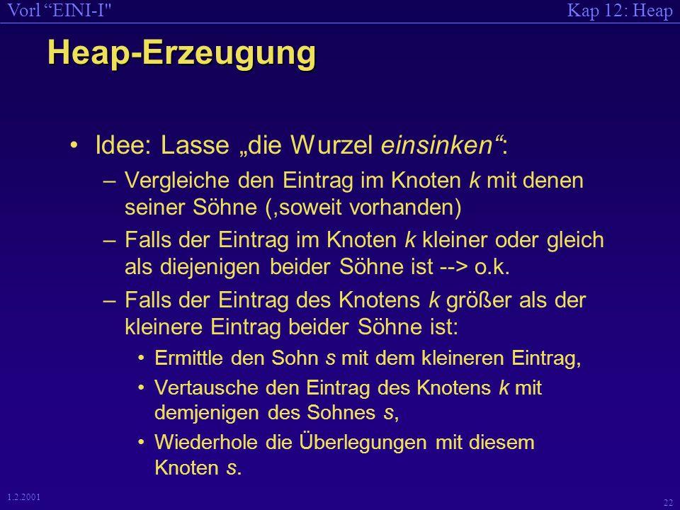 Kap 12: HeapVorl EINI-I 21 1.2.2001 Wie erzeugt man dann einen Heap.