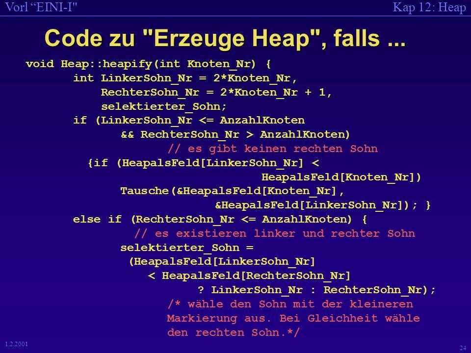 Kap 12: HeapVorl EINI-I 23 1.2.2001 Beispiel 3 8 10 9 1513 12 18 14 20 Heap-Bedingung verletzt Vergleich 6 68 ok