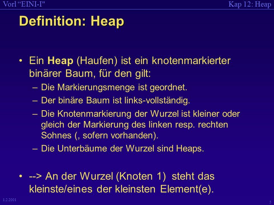Kap 12: HeapVorl EINI-I 4 1.2.2001 Eigenschaften eines Heaps Ein Heap (Haufen) ist ein knotenmarkierter binärer Baum, so daß gilt: –(Die Markierungsmenge ist geordnet) im Beispiel: ganze Zahlen –Der binäre Baum ist links-vollständig: Alle Ebenen (vgl.