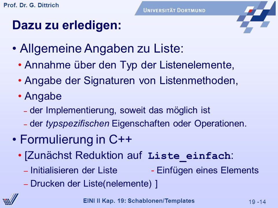 19 -14 Prof. Dr. G. Dittrich 29.05.2000 EINI II Kap.