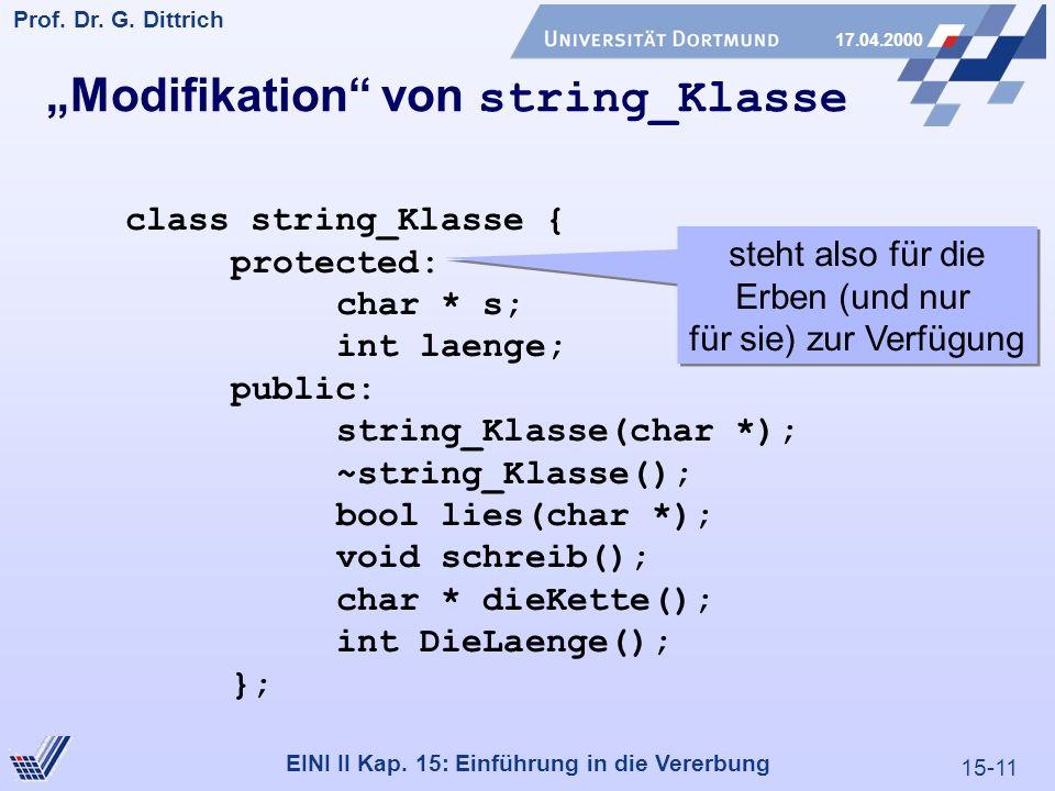 15-11 Prof. Dr. G. Dittrich 17.04.2000 EINI II Kap. 15: Einführung in die Vererbung Modifikation von string_Klasse class string_Klasse { protected: ch