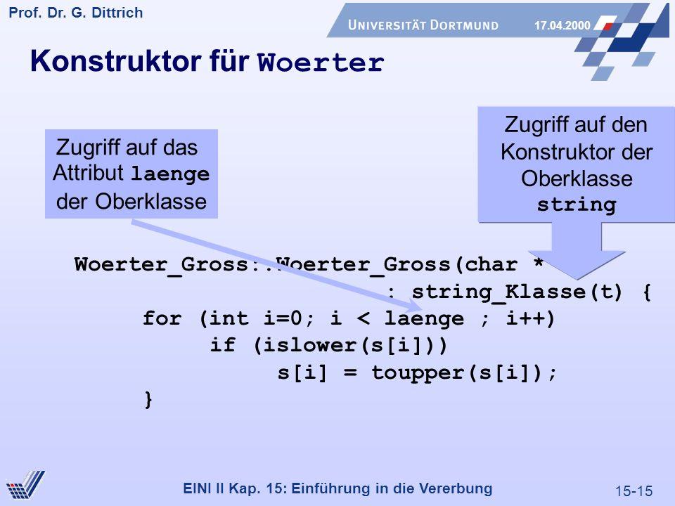 15-15 Prof. Dr. G. Dittrich 17.04.2000 EINI II Kap. 15: Einführung in die Vererbung Konstruktor für Woerter Woerter_Gross::Woerter_Gross(char * t) : s
