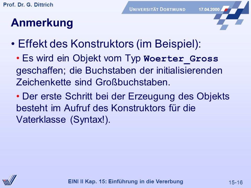 15-16 Prof. Dr. G. Dittrich 17.04.2000 EINI II Kap. 15: Einführung in die Vererbung Anmerkung Effekt des Konstruktors (im Beispiel): Es wird ein Objek