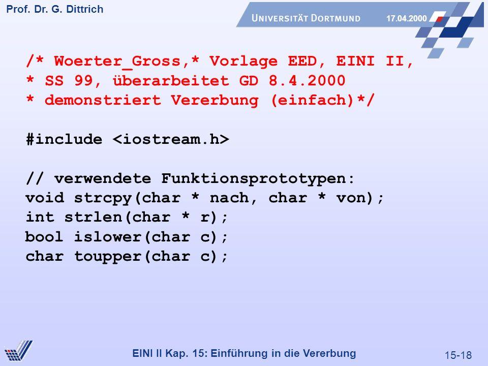 15-18 Prof. Dr. G. Dittrich 17.04.2000 EINI II Kap. 15: Einführung in die Vererbung /* Woerter_Gross,* Vorlage EED, EINI II, * SS 99, überarbeitet GD