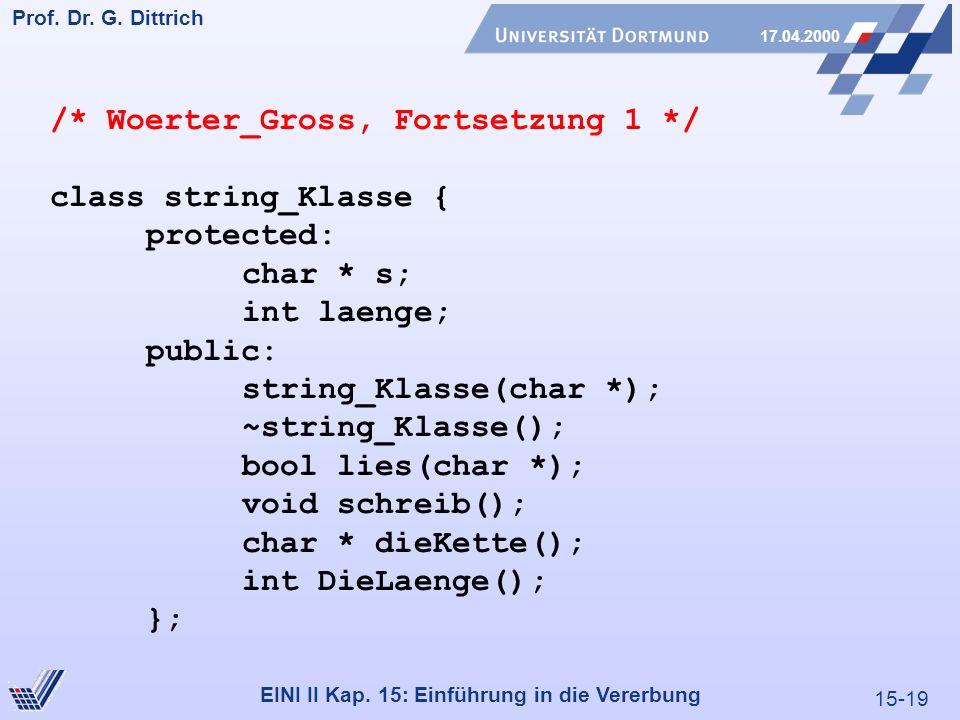 15-19 Prof. Dr. G. Dittrich 17.04.2000 EINI II Kap. 15: Einführung in die Vererbung /* Woerter_Gross, Fortsetzung 1 */ class string_Klasse { protected