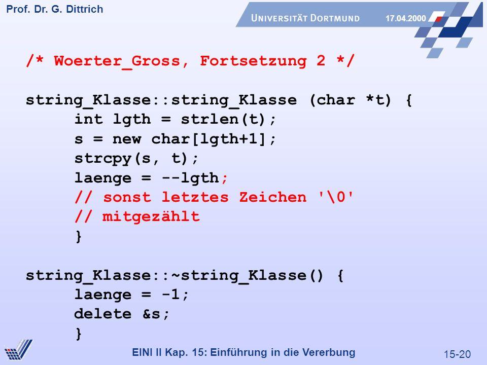 15-20 Prof. Dr. G. Dittrich 17.04.2000 EINI II Kap. 15: Einführung in die Vererbung /* Woerter_Gross, Fortsetzung 2 */ string_Klasse::string_Klasse (c