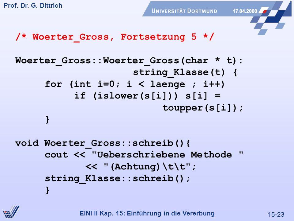 15-23 Prof. Dr. G. Dittrich 17.04.2000 EINI II Kap. 15: Einführung in die Vererbung /* Woerter_Gross, Fortsetzung 5 */ Woerter_Gross::Woerter_Gross(ch