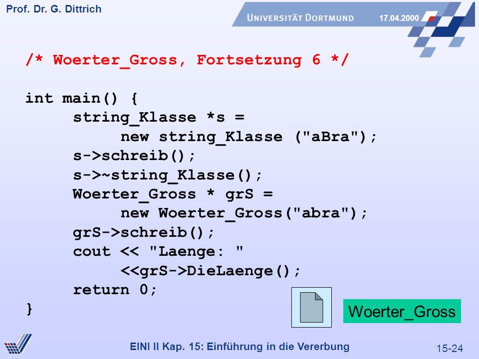 15-24 Prof. Dr. G. Dittrich 17.04.2000 EINI II Kap. 15: Einführung in die Vererbung /* Woerter_Gross, Fortsetzung 6 */ int main() { string_Klasse *s =