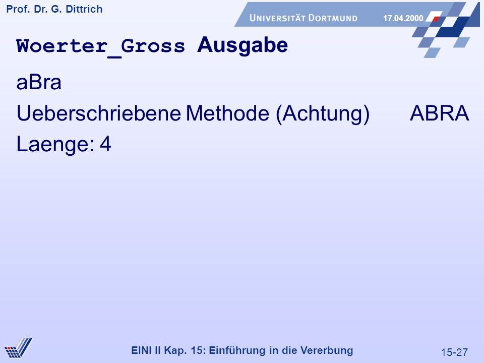 15-27 Prof. Dr. G. Dittrich 17.04.2000 EINI II Kap. 15: Einführung in die Vererbung Woerter_Gross Ausgabe aBra Ueberschriebene Methode (Achtung) ABRA