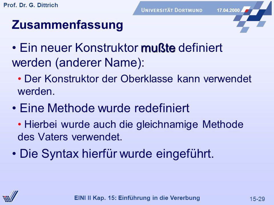 15-29 Prof. Dr. G. Dittrich 17.04.2000 EINI II Kap. 15: Einführung in die Vererbung Zusammenfassung mußte Ein neuer Konstruktor mußte definiert werden