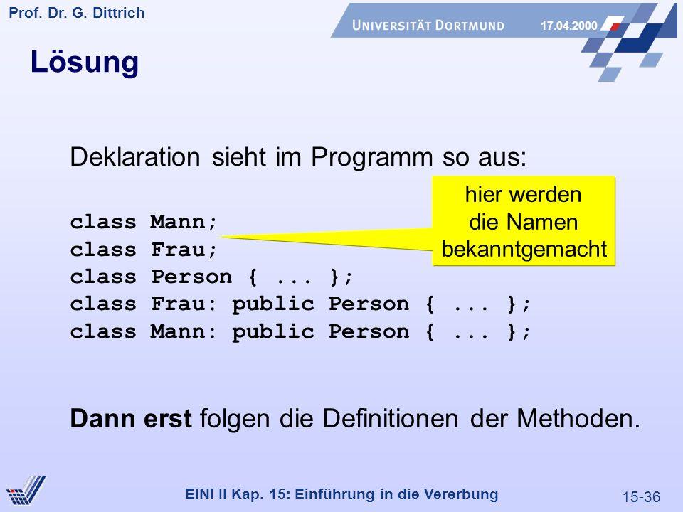 15-36 Prof. Dr. G. Dittrich 17.04.2000 EINI II Kap. 15: Einführung in die Vererbung Lösung Deklaration sieht im Programm so aus: class Mann; class Fra