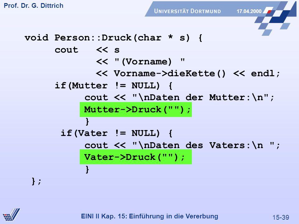 15-39 Prof. Dr. G. Dittrich 17.04.2000 EINI II Kap. 15: Einführung in die Vererbung void Person::Druck(char * s) { cout << s <<