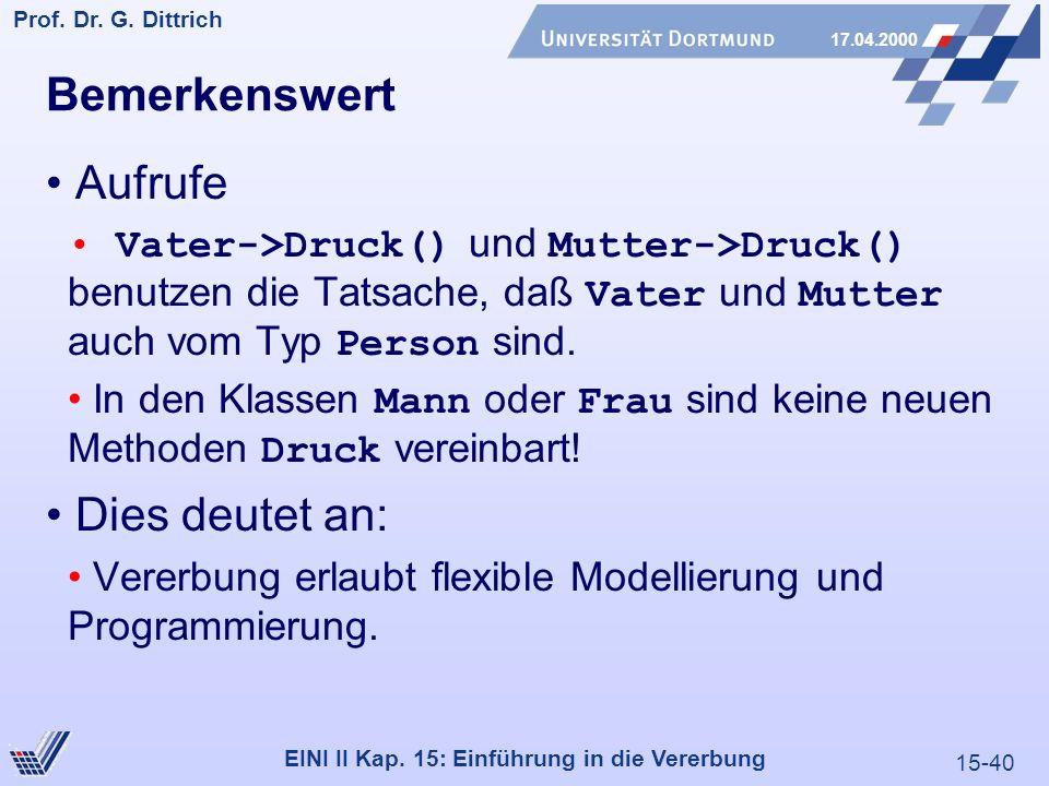 15-40 Prof. Dr. G. Dittrich 17.04.2000 EINI II Kap. 15: Einführung in die Vererbung Bemerkenswert Aufrufe Vater->Druck() und Mutter->Druck() benutzen