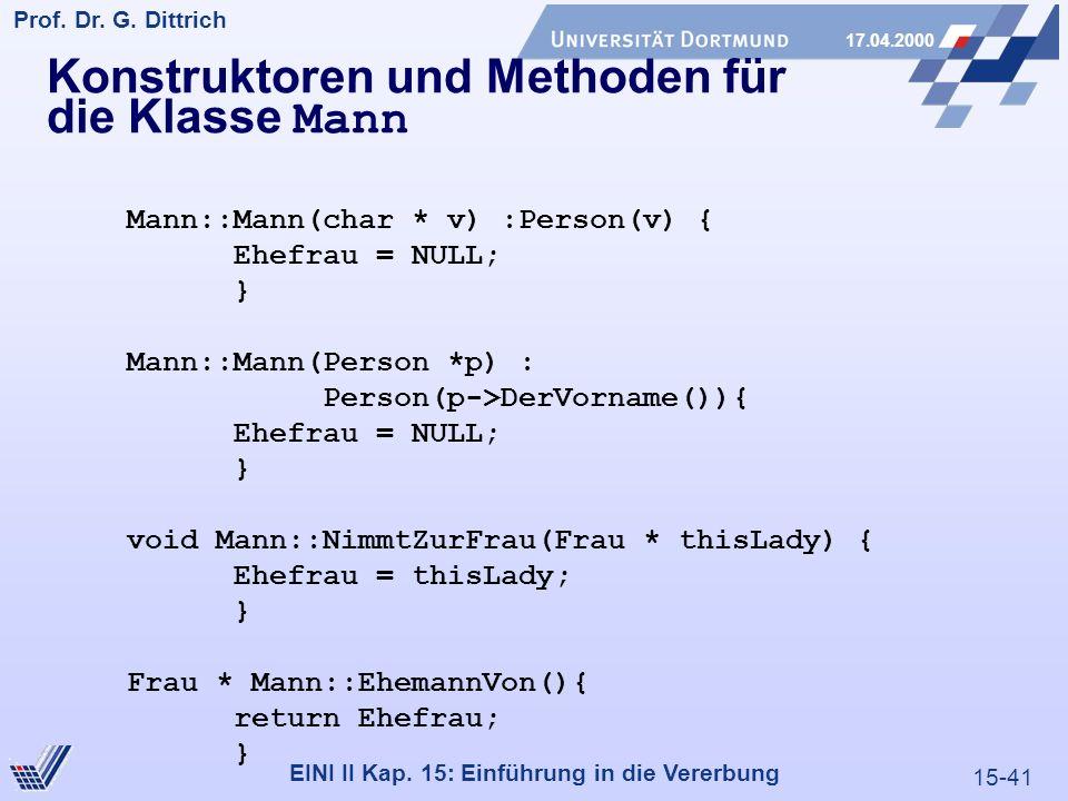 15-41 Prof. Dr. G. Dittrich 17.04.2000 EINI II Kap. 15: Einführung in die Vererbung Konstruktoren und Methoden für die Klasse Mann Mann::Mann(char * v