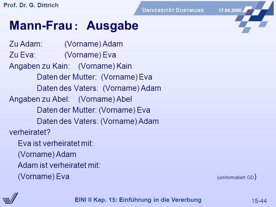 15-44 Prof. Dr. G. Dittrich 17.04.2000 EINI II Kap. 15: Einführung in die Vererbung Mann-Frau : Ausgabe Zu Adam: (Vorname) Adam Zu Eva:(Vorname) Eva A