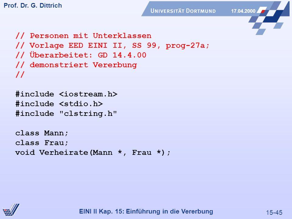 15-45 Prof. Dr. G. Dittrich 17.04.2000 EINI II Kap. 15: Einführung in die Vererbung // Personen mit Unterklassen // Vorlage EED EINI II, SS 99, prog-2