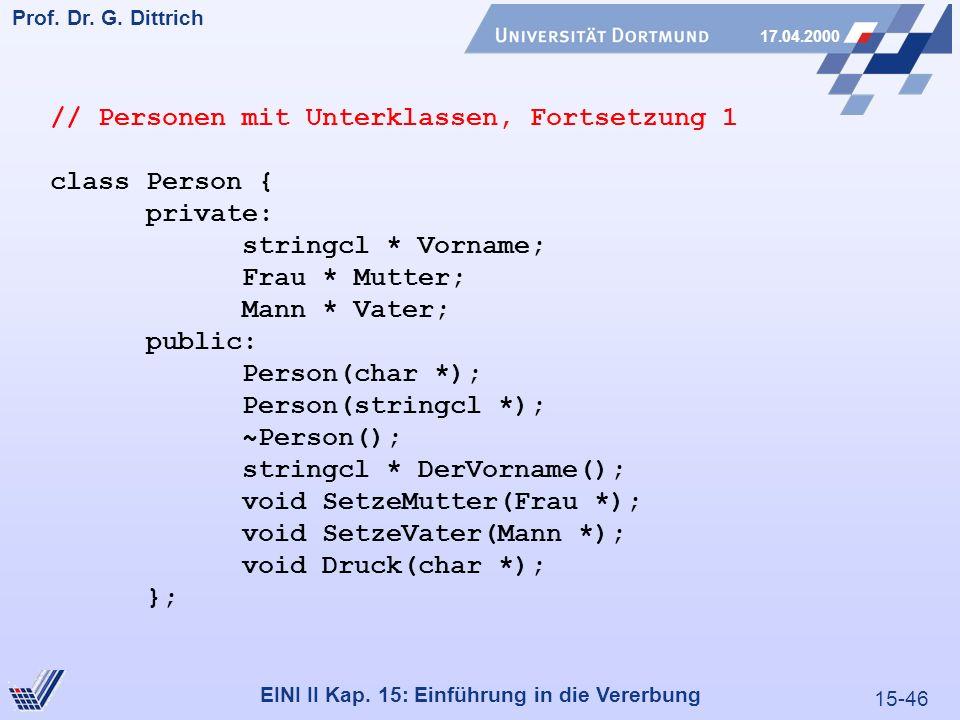 15-46 Prof. Dr. G. Dittrich 17.04.2000 EINI II Kap. 15: Einführung in die Vererbung // Personen mit Unterklassen, Fortsetzung 1 class Person { private
