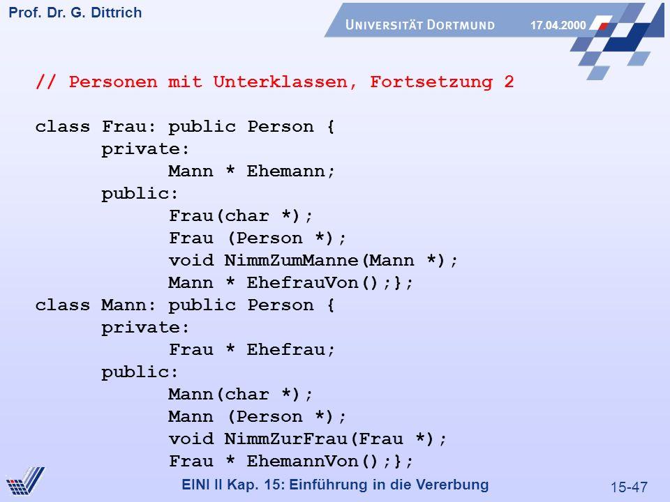 15-47 Prof. Dr. G. Dittrich 17.04.2000 EINI II Kap. 15: Einführung in die Vererbung // Personen mit Unterklassen, Fortsetzung 2 class Frau: public Per