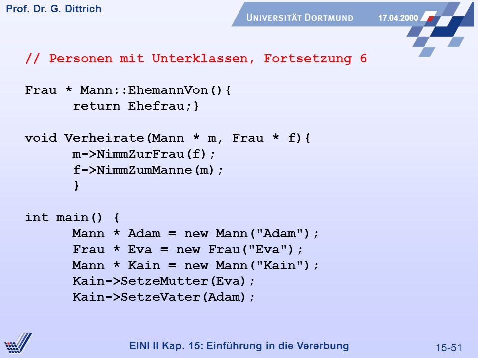 15-51 Prof. Dr. G. Dittrich 17.04.2000 EINI II Kap. 15: Einführung in die Vererbung // Personen mit Unterklassen, Fortsetzung 6 Frau * Mann::EhemannVo