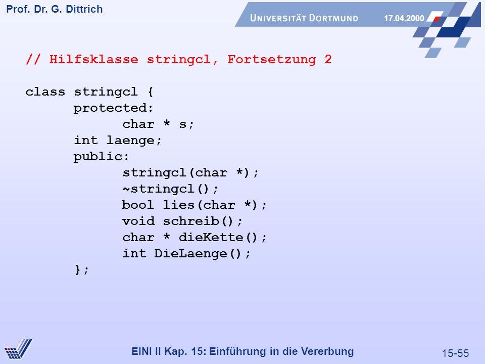 15-55 Prof. Dr. G. Dittrich 17.04.2000 EINI II Kap. 15: Einführung in die Vererbung // Hilfsklasse stringcl, Fortsetzung 2 class stringcl { protected: