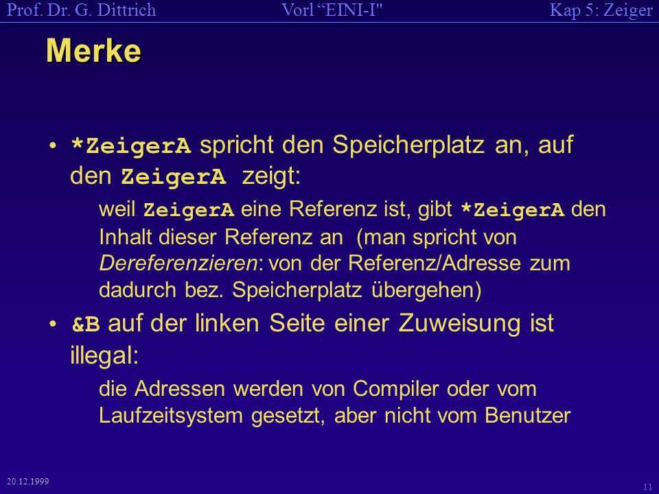 Kap 5: ZeigerVorl EINI-I Prof. Dr. G.