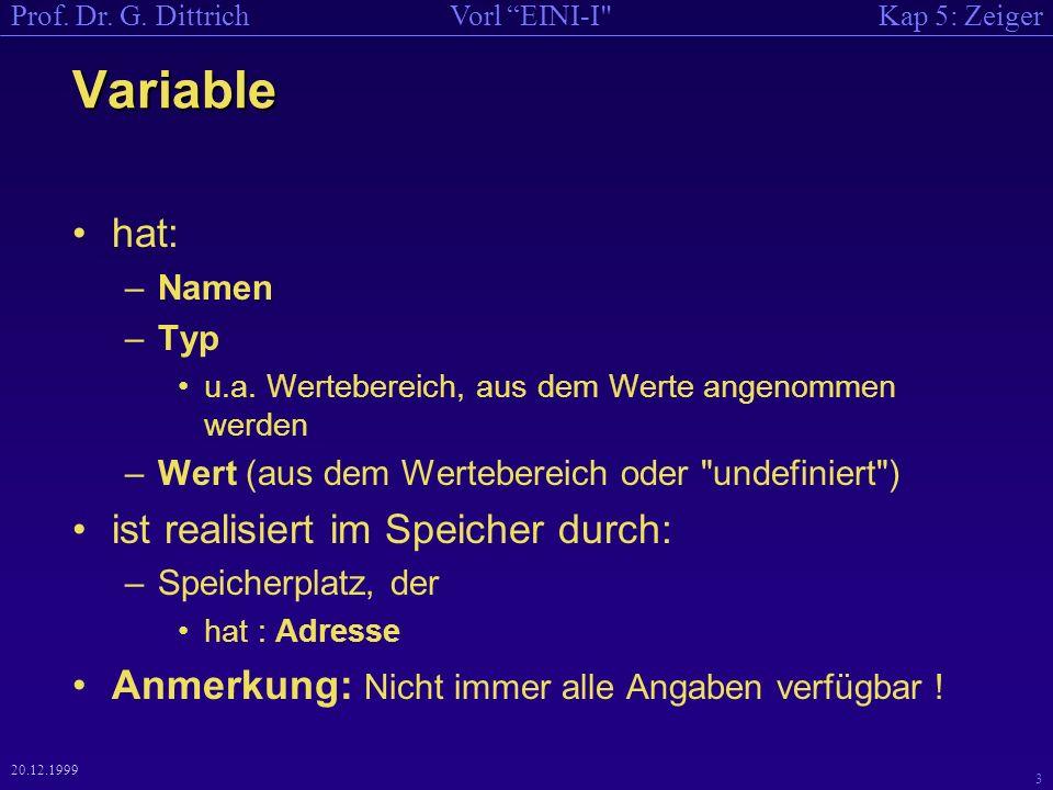 Kap 5: ZeigerVorl EINI-I Prof. Dr. G. Dittrich 3 20.12.1999 Variable hat: –Namen –Typ u.a.