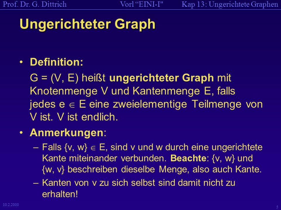 Kap 13: Ungerichtete GraphenVorl EINI-I Prof. Dr.