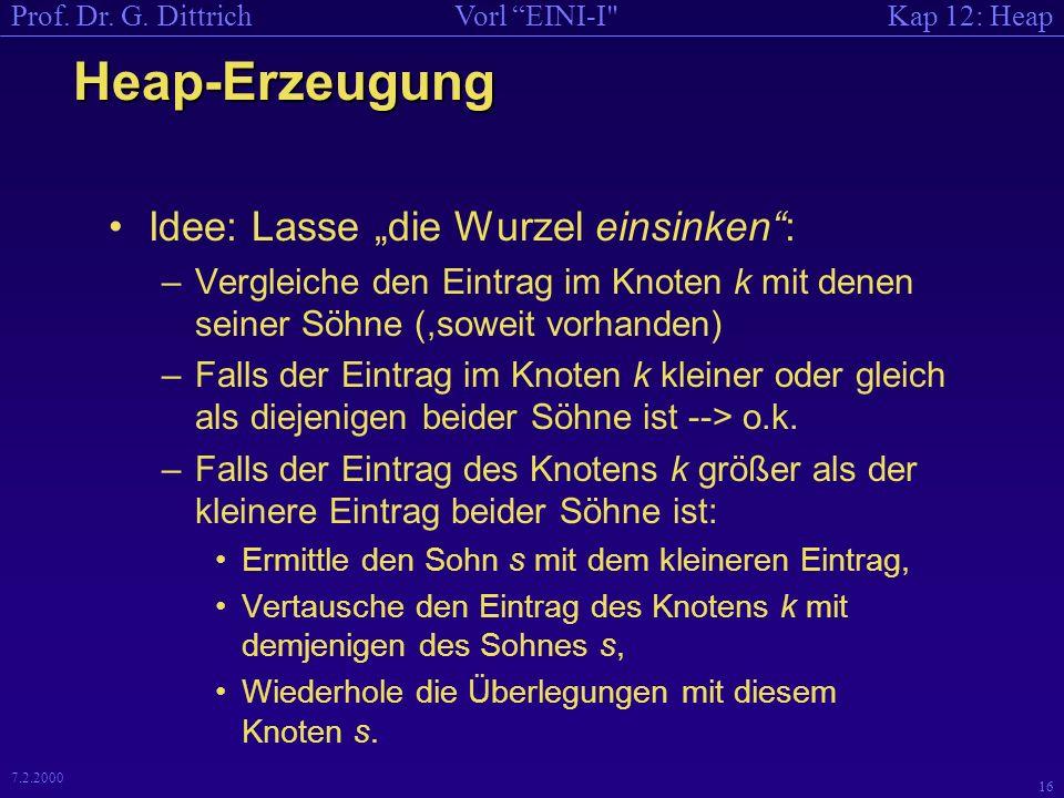 Kap 12: HeapVorl EINI-I Prof. Dr. G. Dittrich 15 7.2.2000 Wie erzeugt man dann einen Heap.