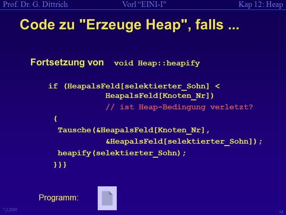Kap 12: HeapVorl EINI-I Prof. Dr. G. Dittrich 18 7.2.2000 Code zu Erzeuge Heap , falls...