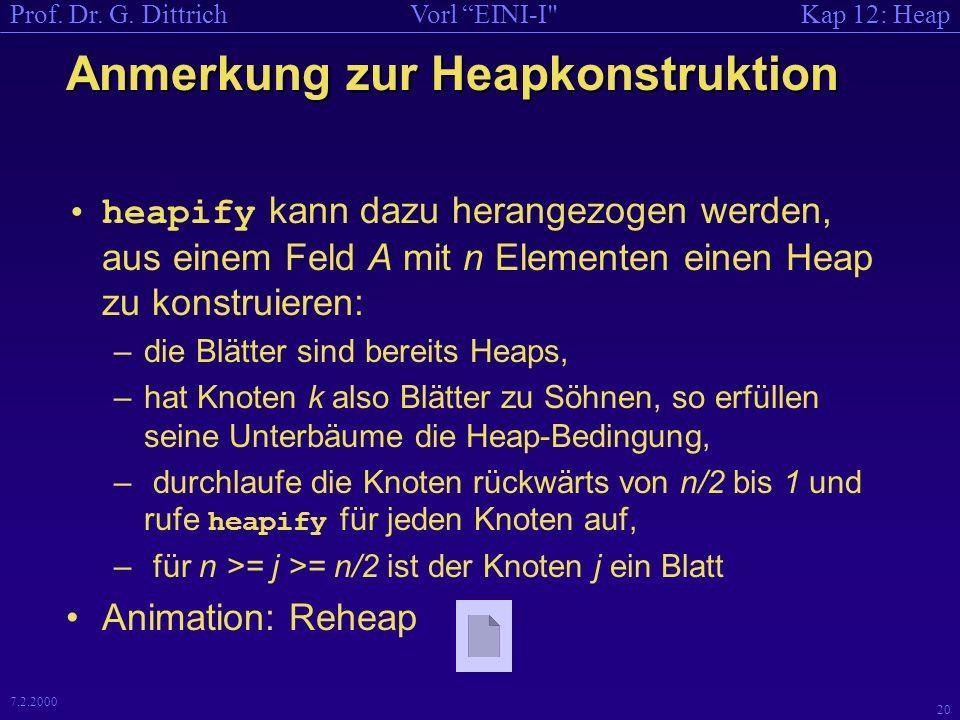 Kap 12: HeapVorl EINI-I Prof. Dr. G. Dittrich 19 7.2.2000 Code zu Erzeuge Heap , falls...