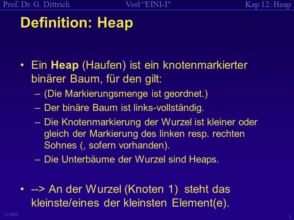 Kap 12: HeapVorl EINI-I Prof.Dr. G. Dittrich 15 7.2.2000 Wie erzeugt man dann einen Heap.