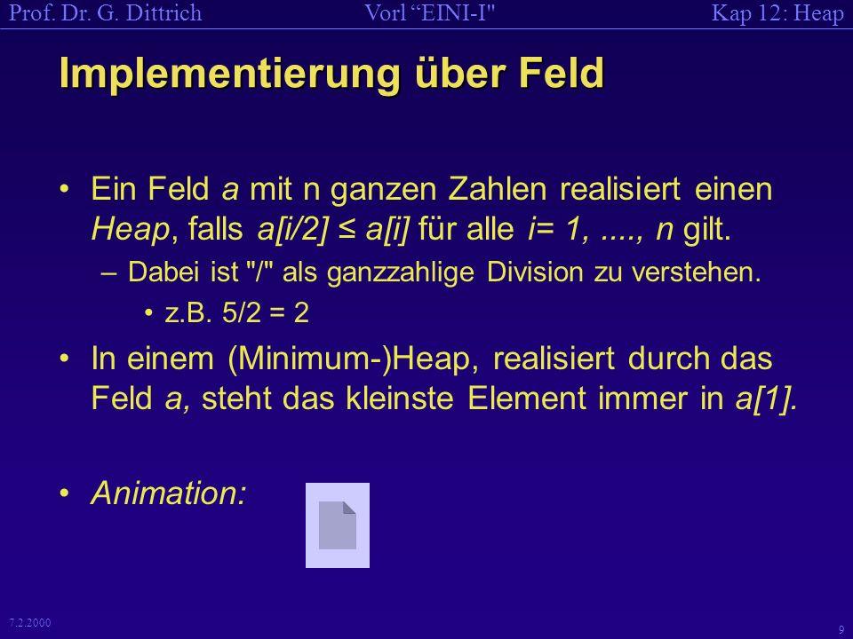 Kap 12: HeapVorl EINI-I Prof.Dr. G. Dittrich 19 7.2.2000 Code zu Erzeuge Heap , falls...