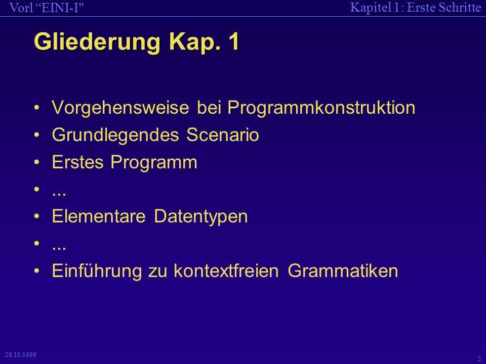 Kapitel 1: Erste Schritte Vorl EINI-I 2 29.10.1999 Gliederung Kap.