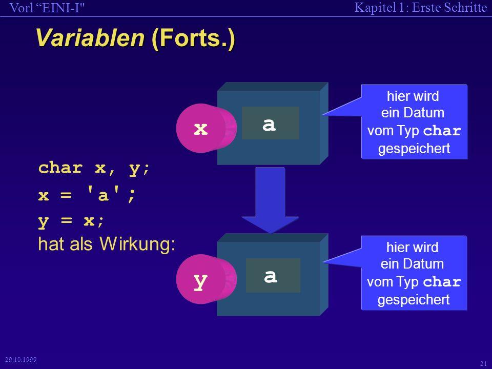Kapitel 1: Erste Schritte Vorl EINI-I 21 29.10.1999 Variablen (Forts.) a y hier wird ein Datum vom Typ char gespeichert...