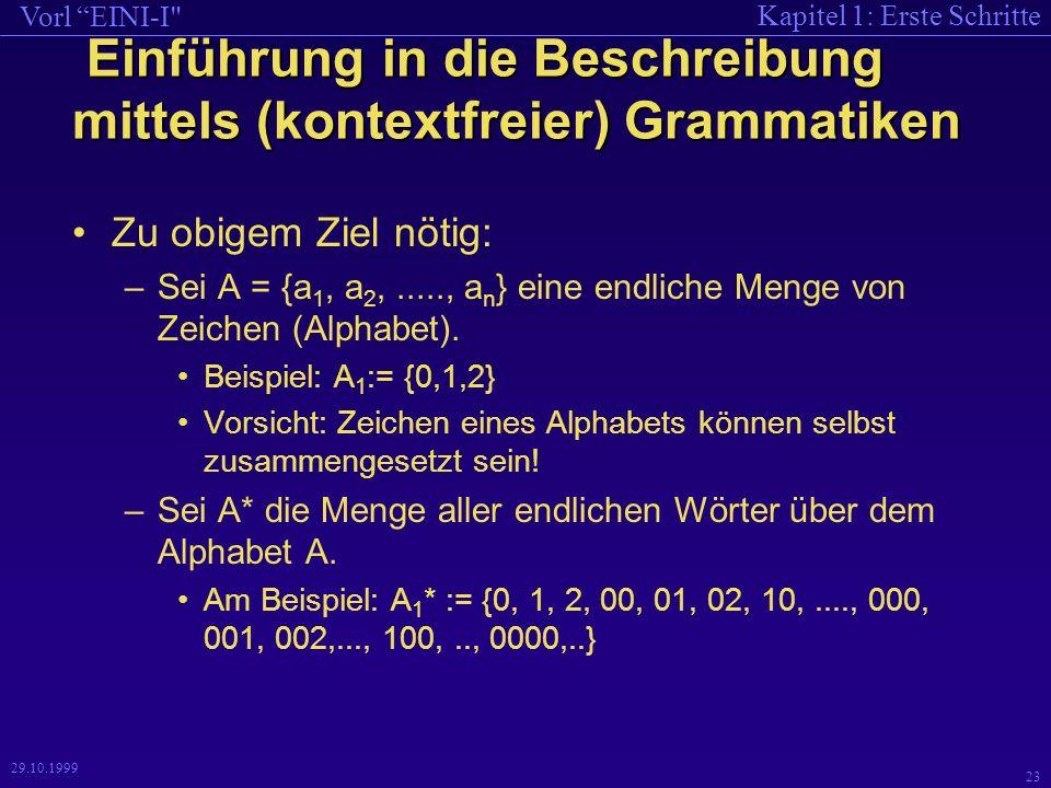 Kapitel 1: Erste Schritte Vorl EINI-I 23 29.10.1999 Einführung in die Beschreibung mittels (kontextfreier) Grammatiken Einführung in die Beschreibung mittels (kontextfreier) Grammatiken Zu obigem Ziel nötig: –Sei A = {a 1, a 2,....., a n } eine endliche Menge von Zeichen (Alphabet).