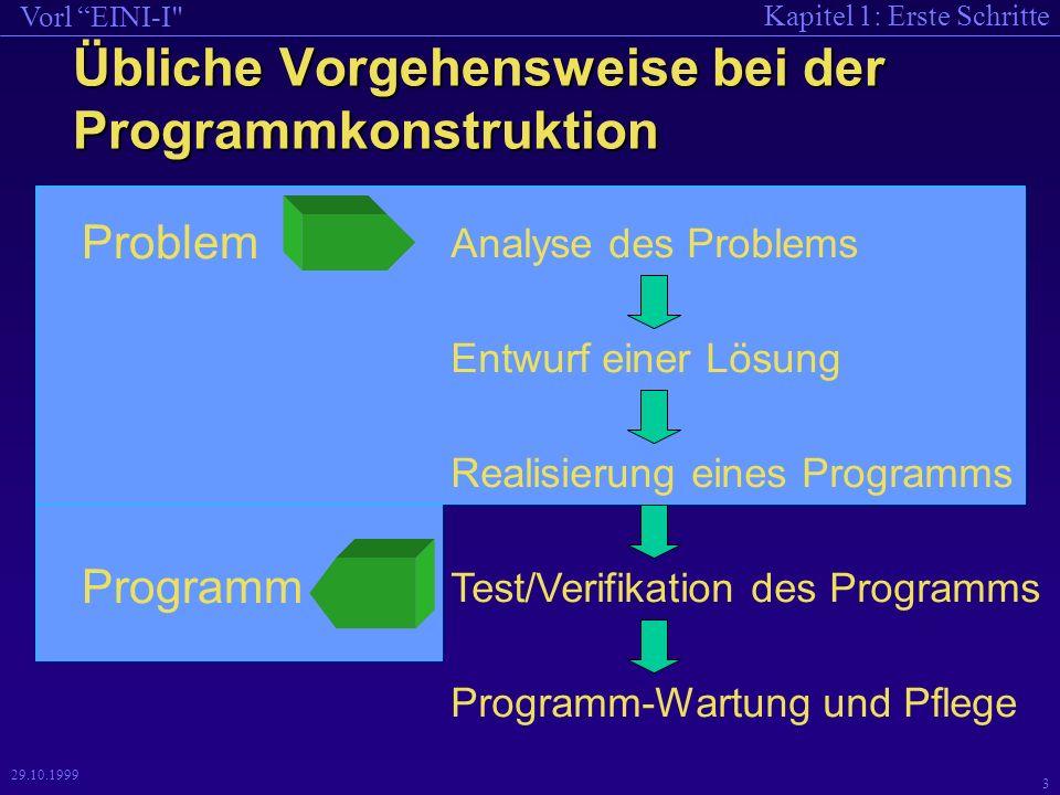 Kapitel 1: Erste Schritte Vorl EINI-I 3 29.10.1999 Übliche Vorgehensweise bei der Programmkonstruktion Programm-Wartung und Pflege Analyse des Problems Entwurf einer Lösung Test/Verifikation des Programms Problem Programm Realisierung eines Programms
