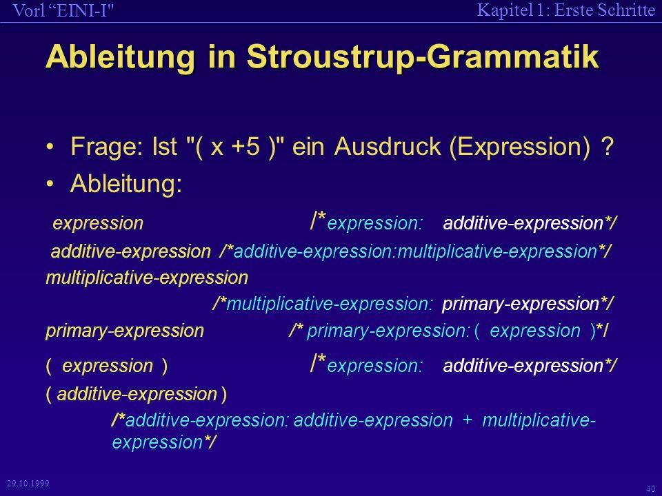 Kapitel 1: Erste Schritte Vorl EINI-I 40 29.10.1999 Ableitung in Stroustrup-Grammatik Frage: Ist ( x +5 ) ein Ausdruck (Expression) .