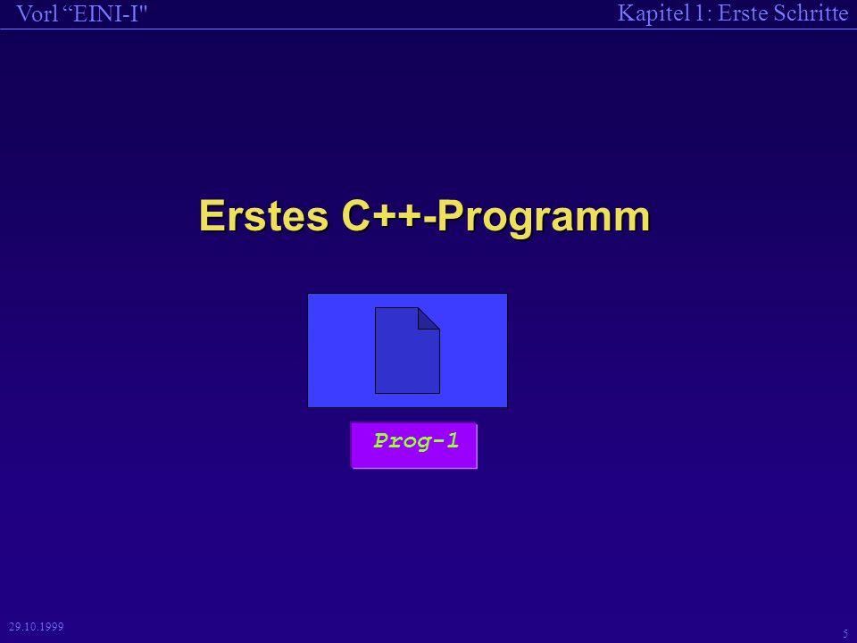 Kapitel 1: Erste Schritte Vorl EINI-I 5 29.10.1999 Erstes C++-Programm Prog-1