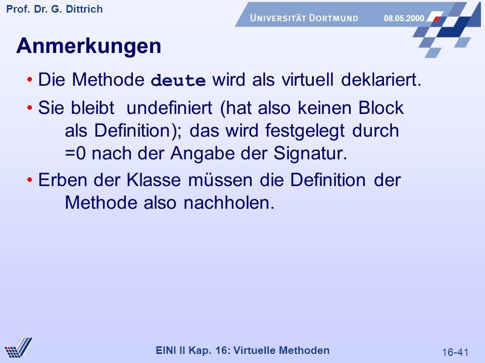 16-41 Prof. Dr. G. Dittrich 08.05.2000 EINI II Kap.