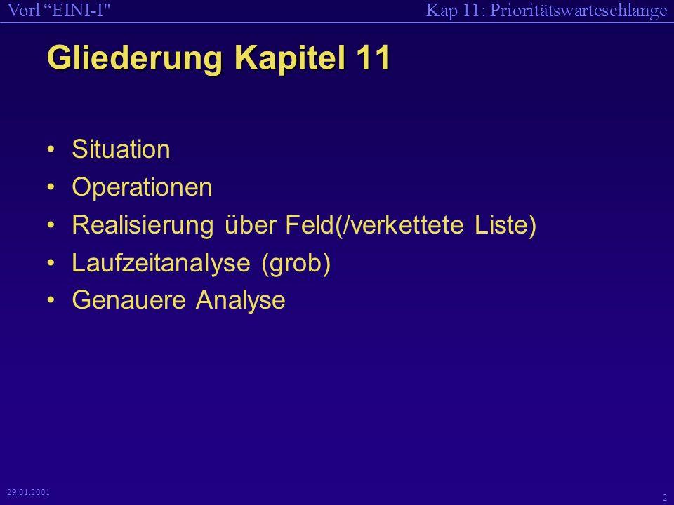Kap 11: PrioritätswarteschlangeVorl EINI-I 2 29.01.2001 Gliederung Kapitel 11 Situation Operationen Realisierung über Feld(/verkettete Liste) Laufzeitanalyse (grob) Genauere Analyse