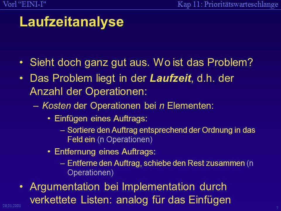 Kap 11: PrioritätswarteschlangeVorl EINI-I 7 29.01.2001 Laufzeitanalyse Sieht doch ganz gut aus.