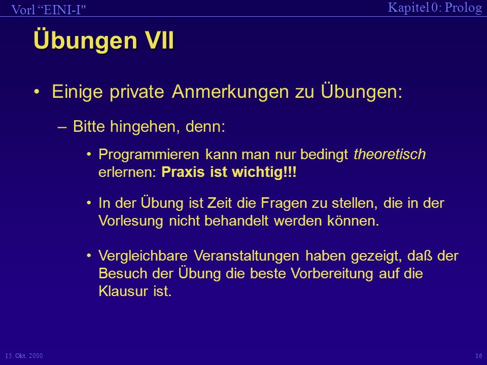 Kapitel 0: Prolog Vorl EINI-I 15.Okt.